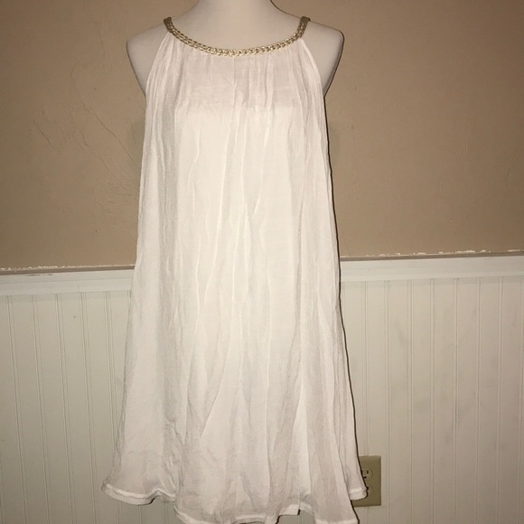 India Boutique Dresses & Skirts - White and gold tank top dress